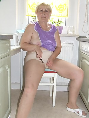 Old german granny in pantyhose