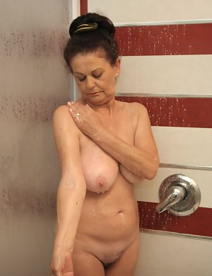 Mature mother naked in shower