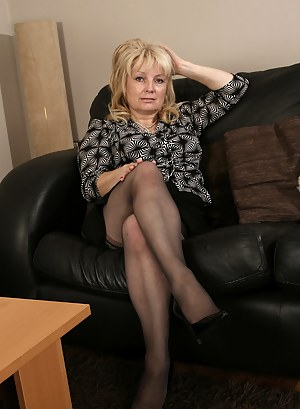 Amateur granny on couch